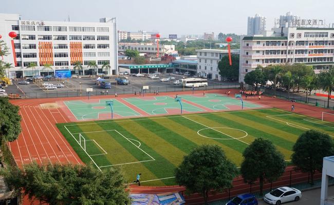 学院新改建的塑胶跑道 人工草皮足球场和彩色篮球场